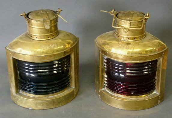 9: Two brass nautical lanterns- port & starboard, elect