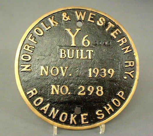 10: Locomotive builder's plate- Norfolk & Western RY. 1