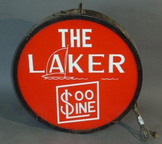 """11: Railroad drumhead or tail sign- """"The Laker"""", reprod"""