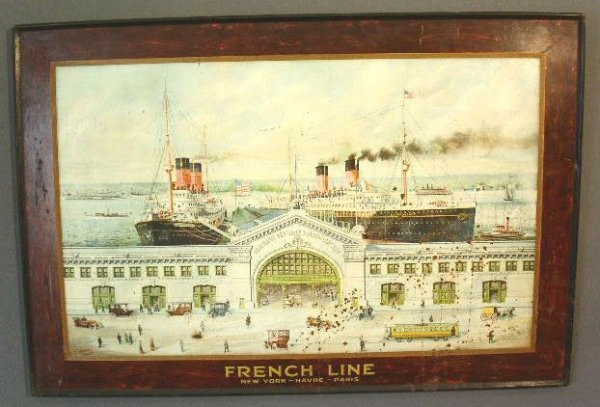12: French Line steamship picture printed on tin (after