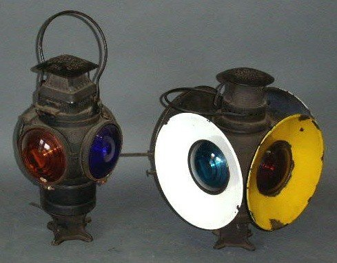 15: Two railroad switch lamps by Adlake, electrified. 1