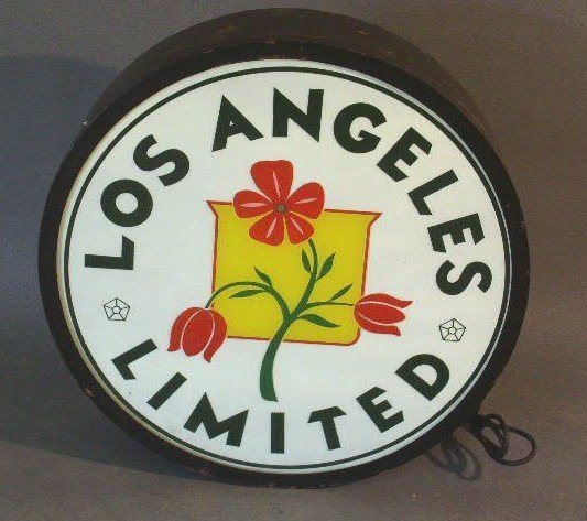 """16: Railroad drumhead or tail sign- """"Los Angeles Limite"""
