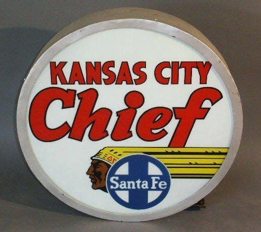 "20: Railroad drumhead or tail sign- ""Kansas City Chief"""