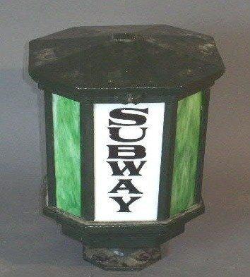 "23: Subway"" lantern top with slag glass panels. 16""h.x1"