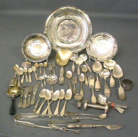356:   Group sterling & coin silver flatware & table ar