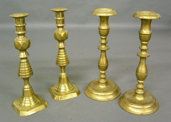 358:   Two pairs of brass candlesticks- baluster form 1