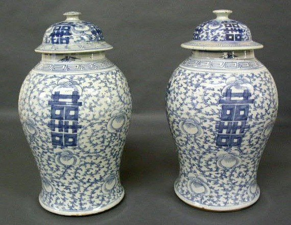 360:   Pair of Chinese porcelain urns, mid/late 19th c.