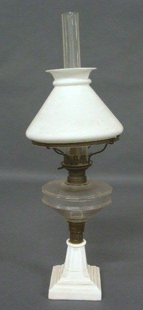 "363:   Oil lamp w/clambroth base, stem marked ""The Bril"