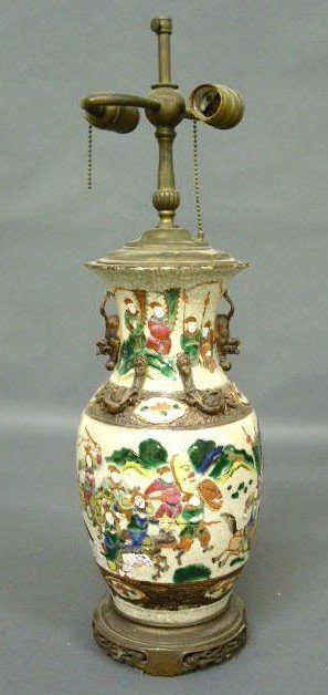 "376:   Chinese porcelain lamp, c.1920. 15""h. to top of"