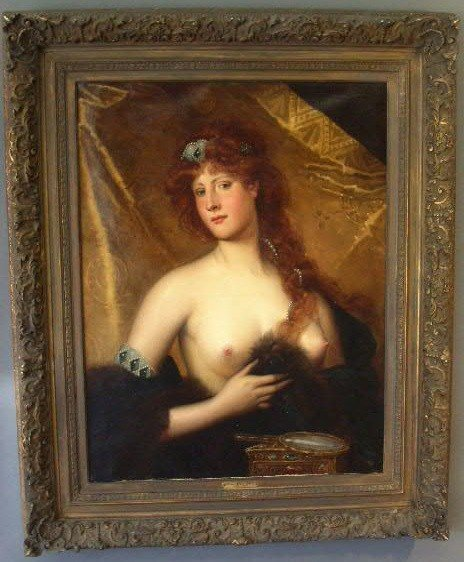 601: .Oil on canvas portrait of a semi-nude woman with