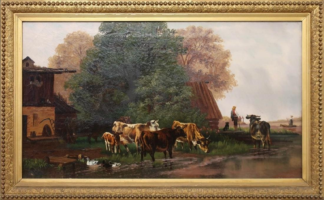 Continental Oil on Canvas 19th c. Farm Scene