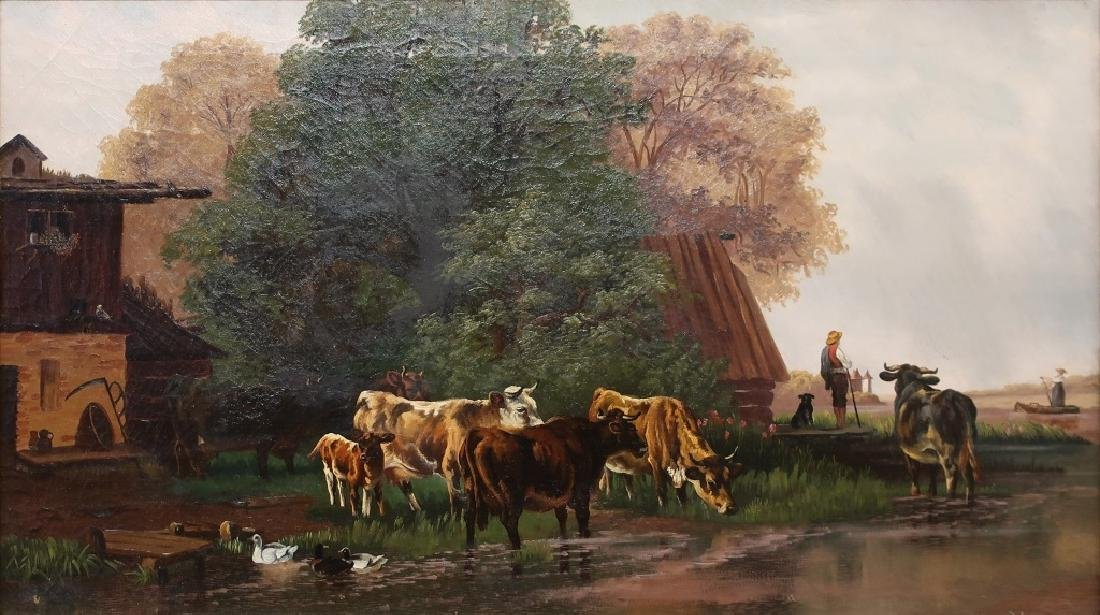 Continental Oil on Canvas 19th c. Farm Scene - 2