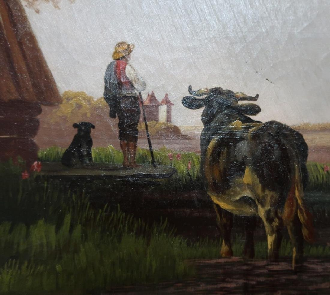 Continental Oil on Canvas 19th c. Farm Scene - 6