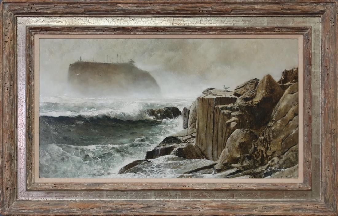 Oil on Canvas Coastal Scene with Cliffs