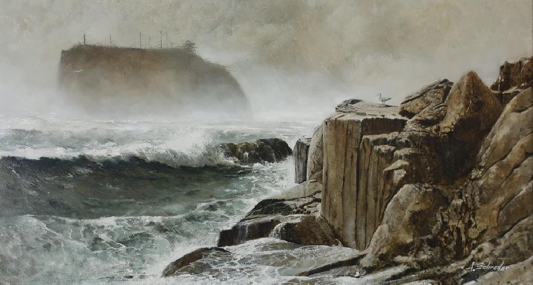Oil on Canvas Coastal Scene with Cliffs - 2