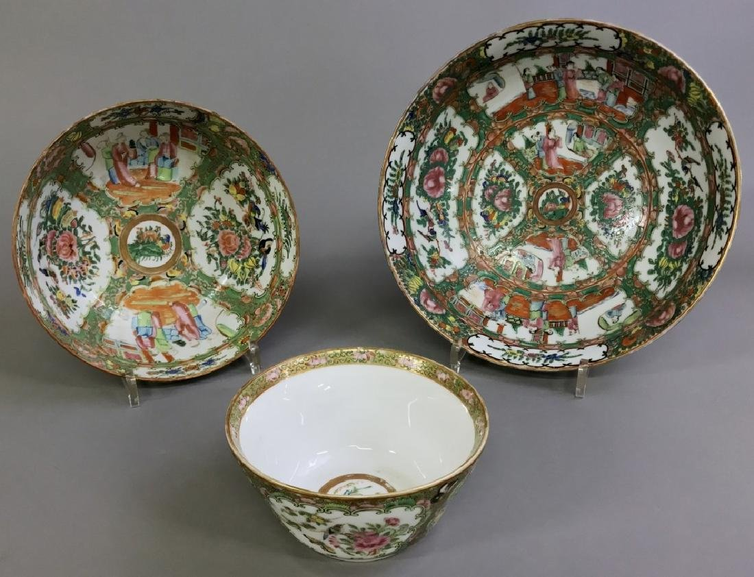 Rose Medallion Punch Bowl and Two Other Bowls