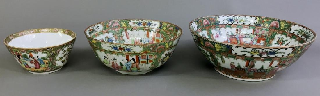 Rose Medallion Punch Bowl and Two Other Bowls - 2