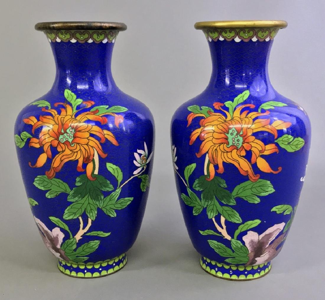 Pair of Cloisonne urns