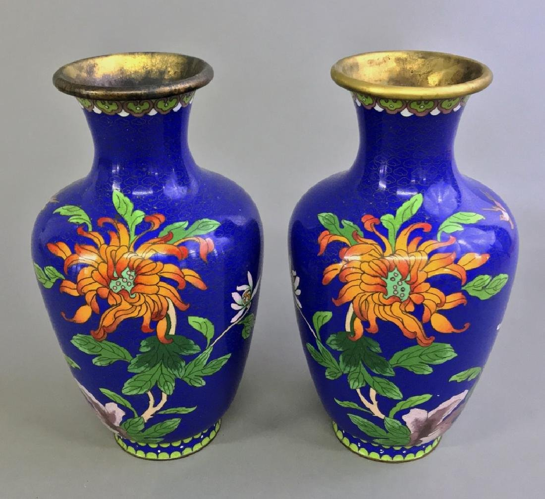 Pair of Cloisonne urns - 2