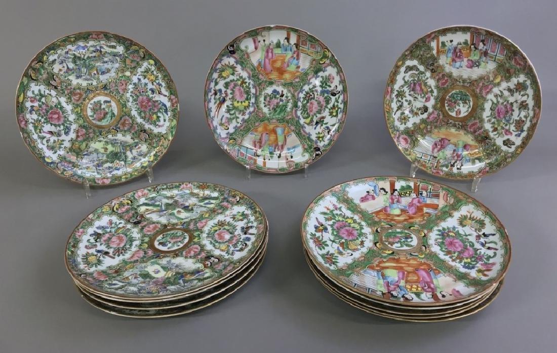 Assembled Set of Twelve Rose Medallion Plates