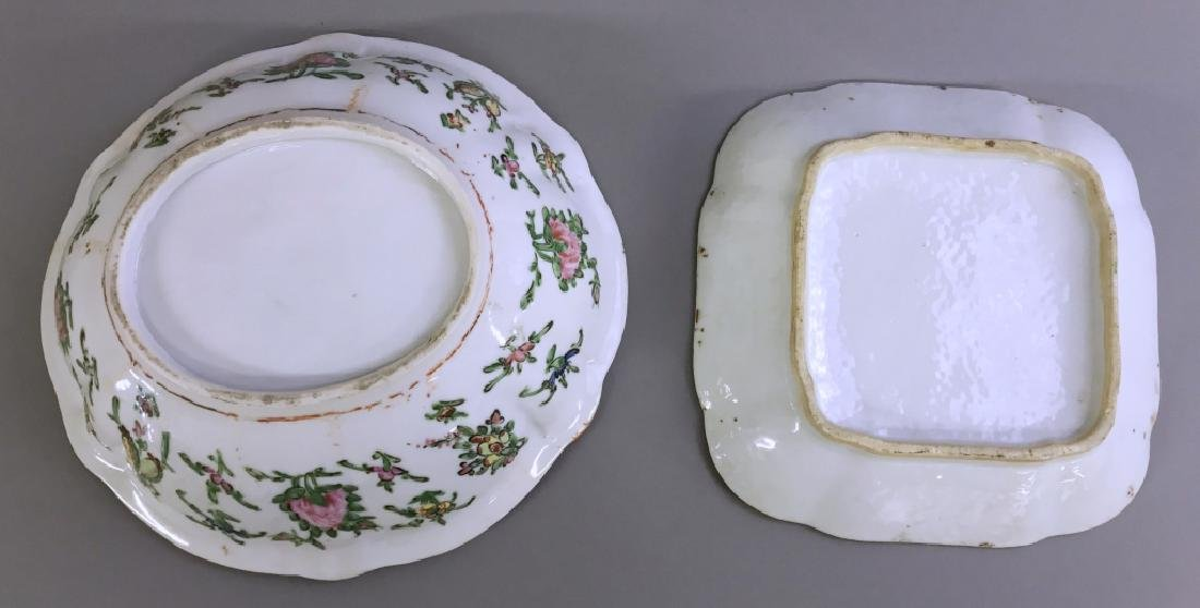 Rose Medallion Bowl and Dish - 3