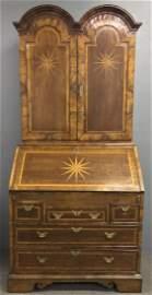 Georgian Oak Inlaid Two-Part Secretary Bookcase