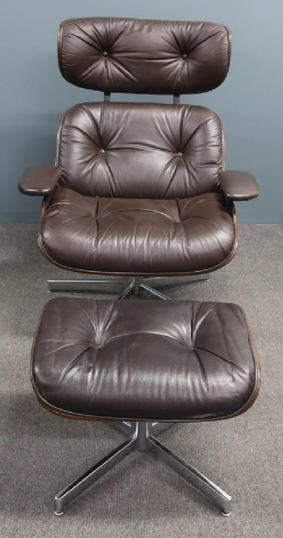 Selig Leather and Bentwood Eames Style Chair