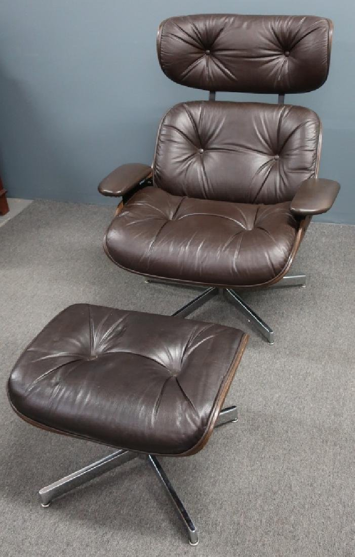 Selig Leather and Bentwood Eames Style Chair - 2