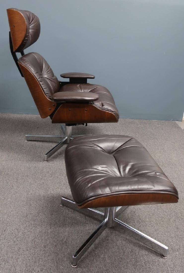 Selig Leather and Bentwood Eames Style Chair - 3
