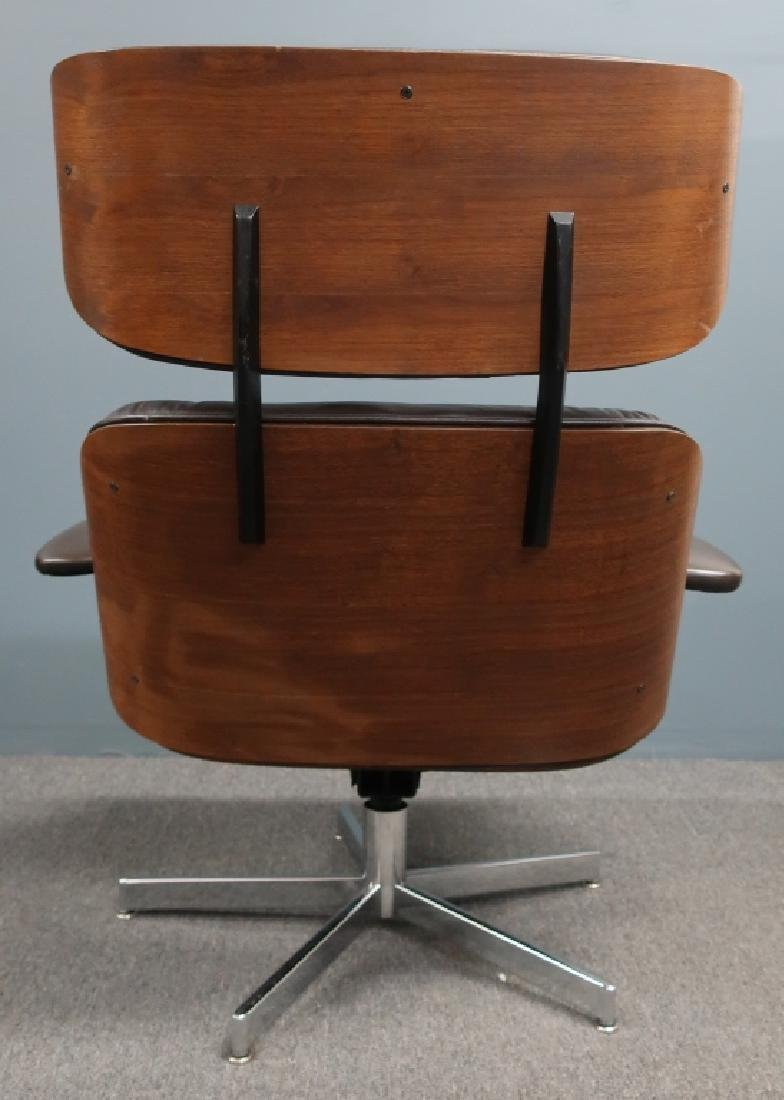 Selig Leather and Bentwood Eames Style Chair - 4