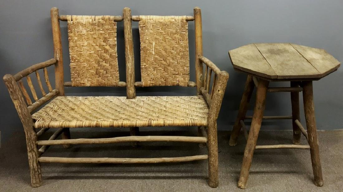 Primitive Wood Settee with Rush Back and Seat