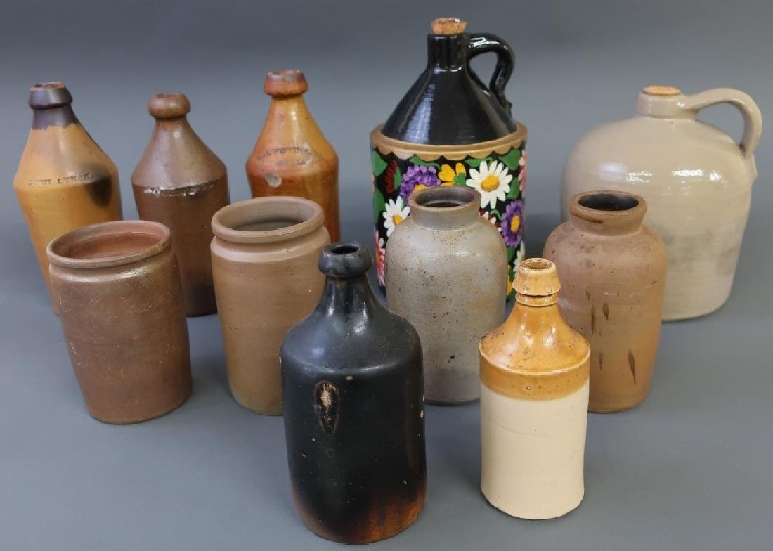 Eleven Stoneware and Redware Jugs and Bottles