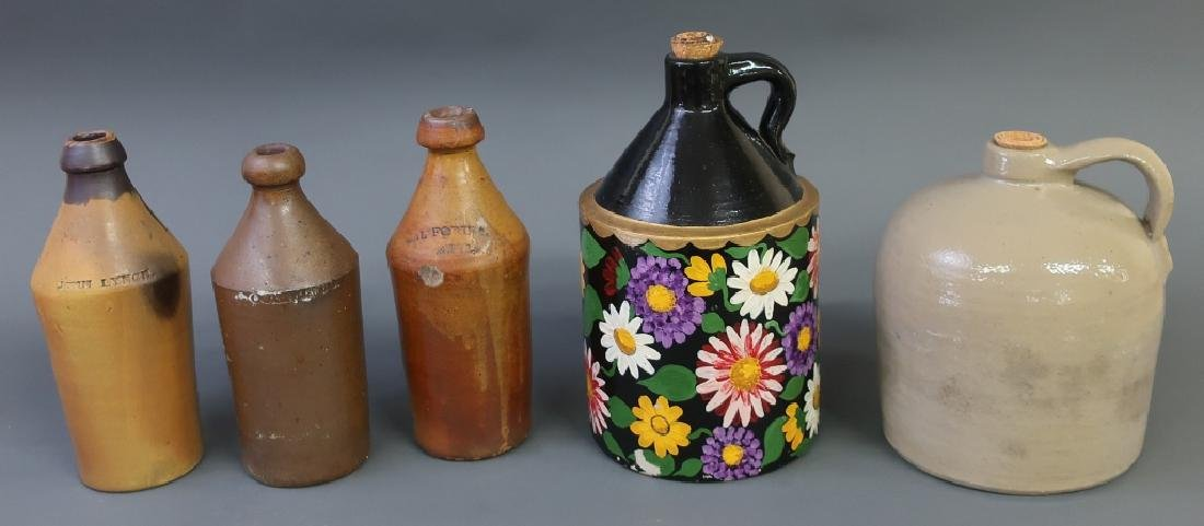 Eleven Stoneware and Redware Jugs and Bottles - 2