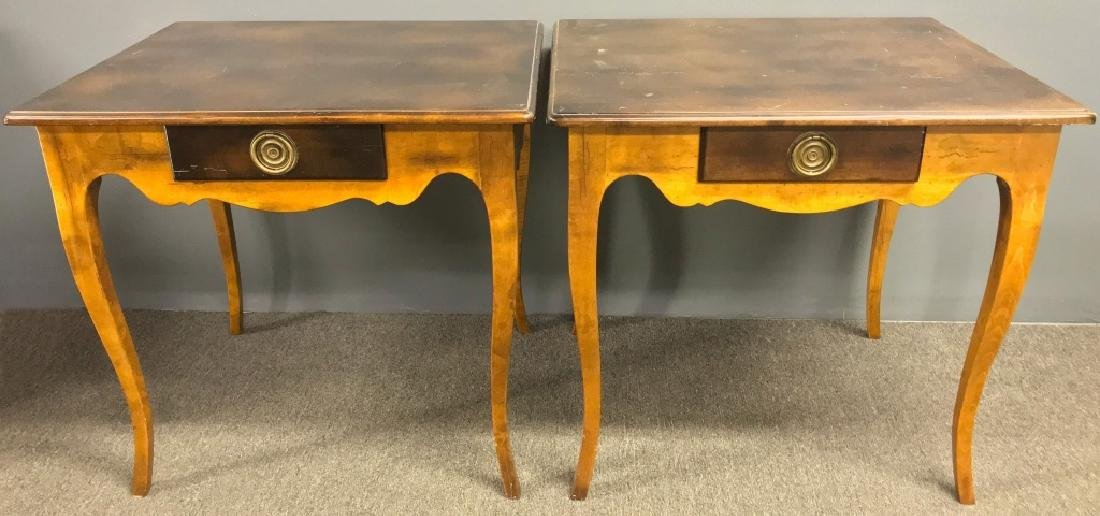 Pair of Italian Fruitwood End Tables