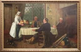 W. Dendy Sadler Large Oil on Canvas Tavern Scene