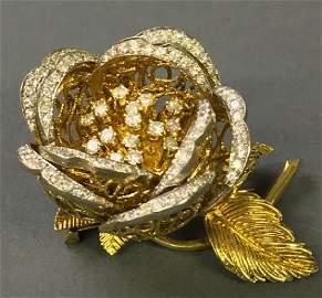 Fine Large 18 Karat Gold and Diamond Brooch