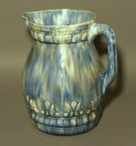 "3: Blue glazed pitcher.  9""h."
