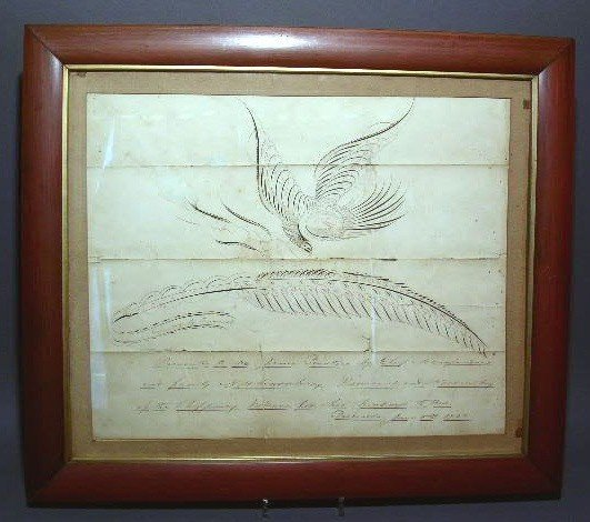 """153:  Penmanship exercise with eagle and quill """"Presen"""
