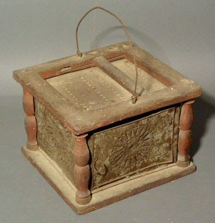251:  Pine foot-warmer, 19thc., with punched tin panel