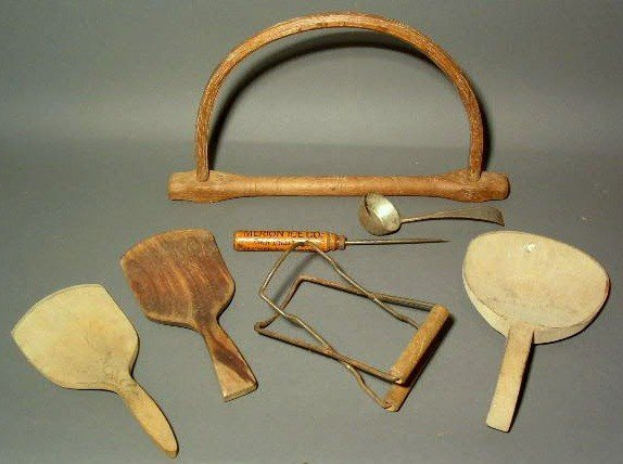 255:  Group of kitchen implements, incl. three dough s