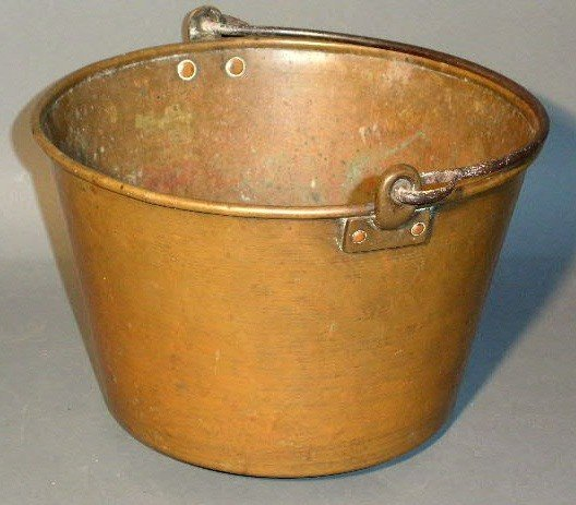 262:  Signed brass pail, c.1855, with wrought iron han