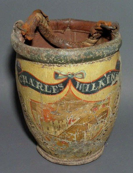 264:  Leather fire bucket painted with fire fighting s