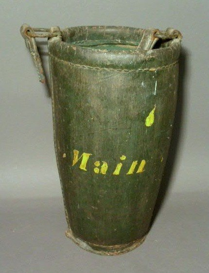 265:  Leather fire bucket in old dark green paint with
