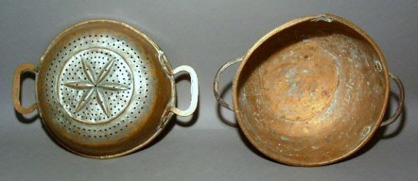 267:  Copper plated colander with six pointed star pat