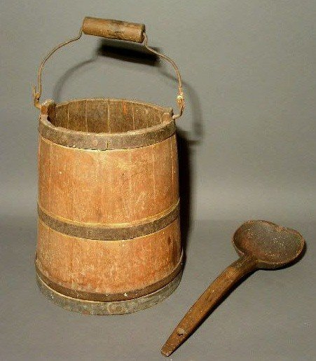 """269:  Wood milk pail 11.5""""h., with original red paint"""