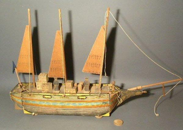 """271:  Reed pull-toy boat (schooner), c.1887, """"Ocean Wa"""