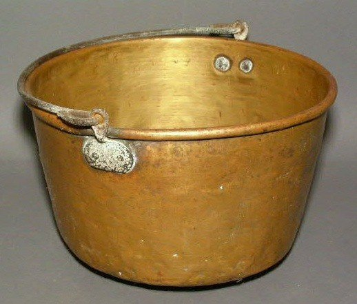 """272:  Brass pail with iron handle. 13""""dia."""