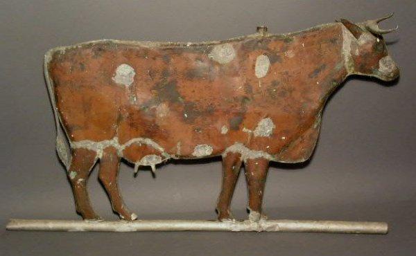 "367:  Molded copper cow weather vane. 28""h.x16""l."