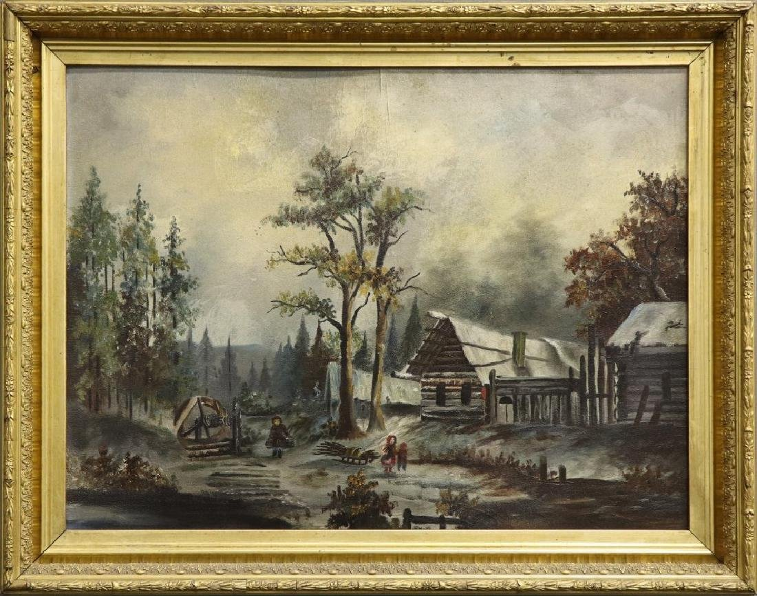 19th C American School Landscape with Log Cabins