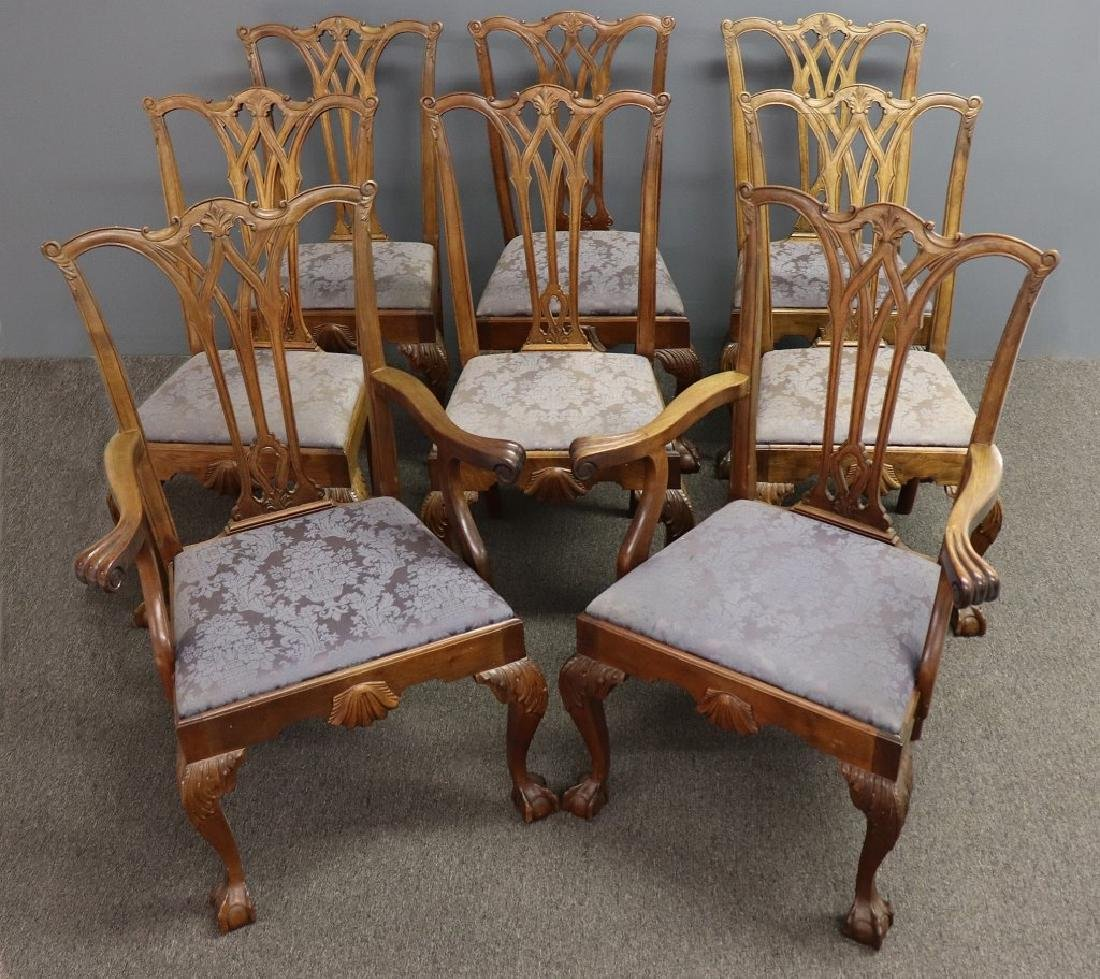 Assembled Set of Eight Mahogany Dining Chairs